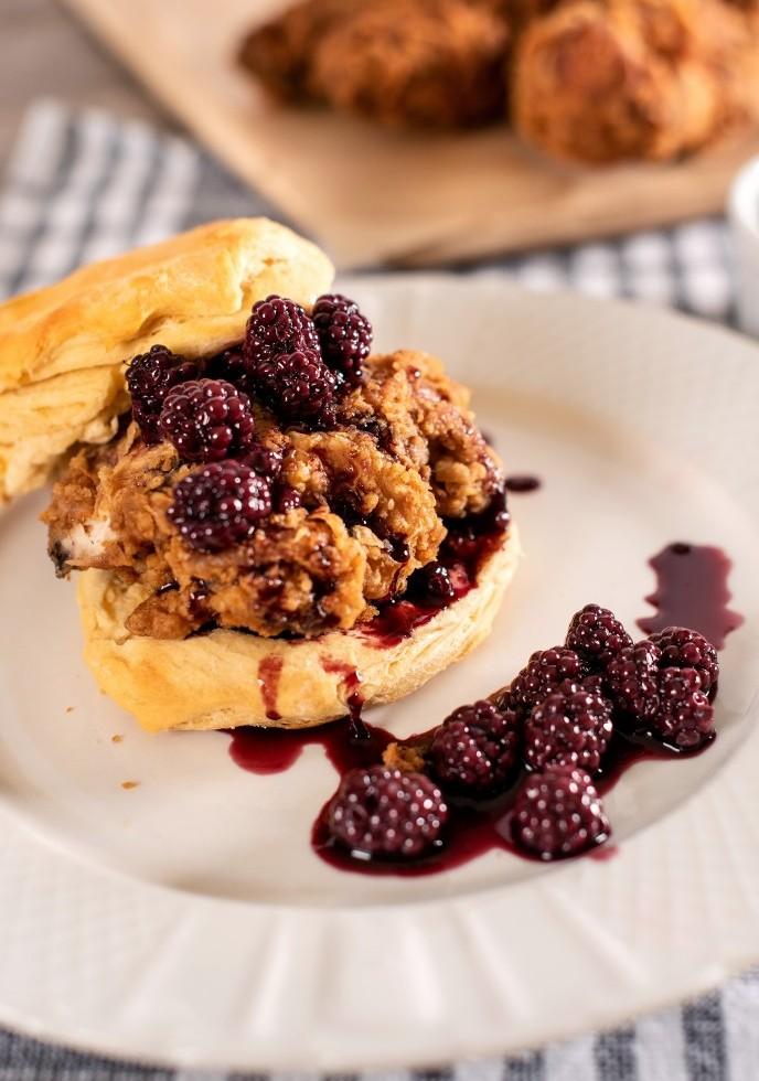 Blackberry Fried Chicken Biscuit Sandwich