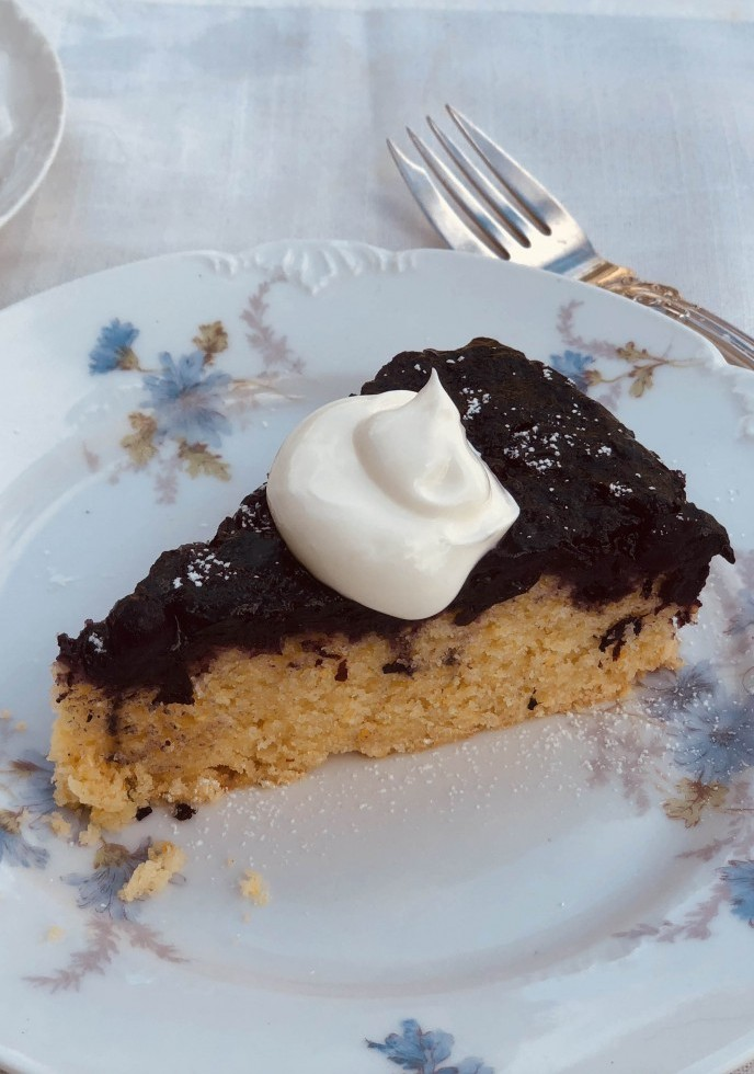 Blueberry Upside Cake With Sour Cream Topping