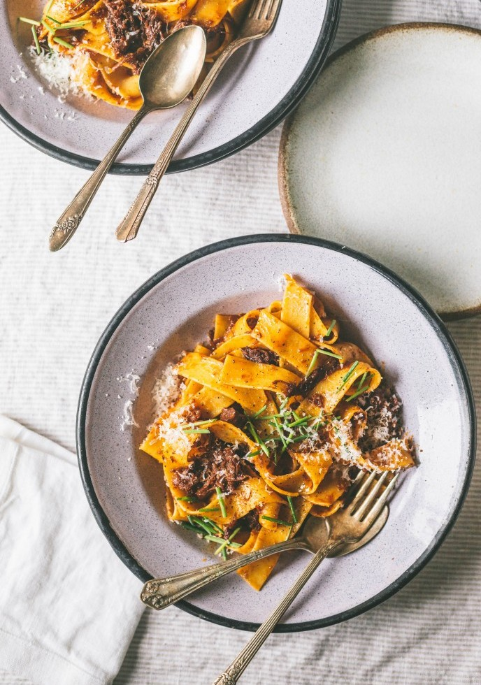 Dark Sweet Cherry Short Rib Bolognese with Pappardelle