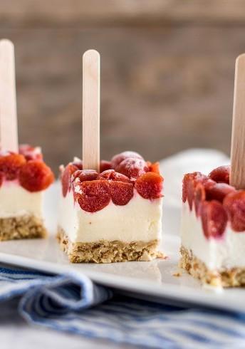 Red Tart Cherry Frozen Cheesecake Pops