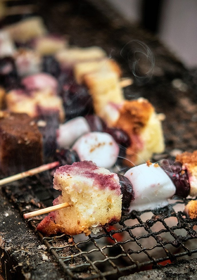 Cherry Skewers w/ Marshmallow & Lemon Pound Cake