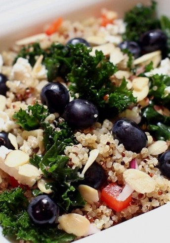Blueberry, Kale and Quinoa Salad with Blueberry Vinaigrette