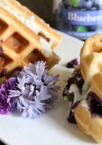 Blueberry Waffle Sandwich With Blue Cheese and Pecans