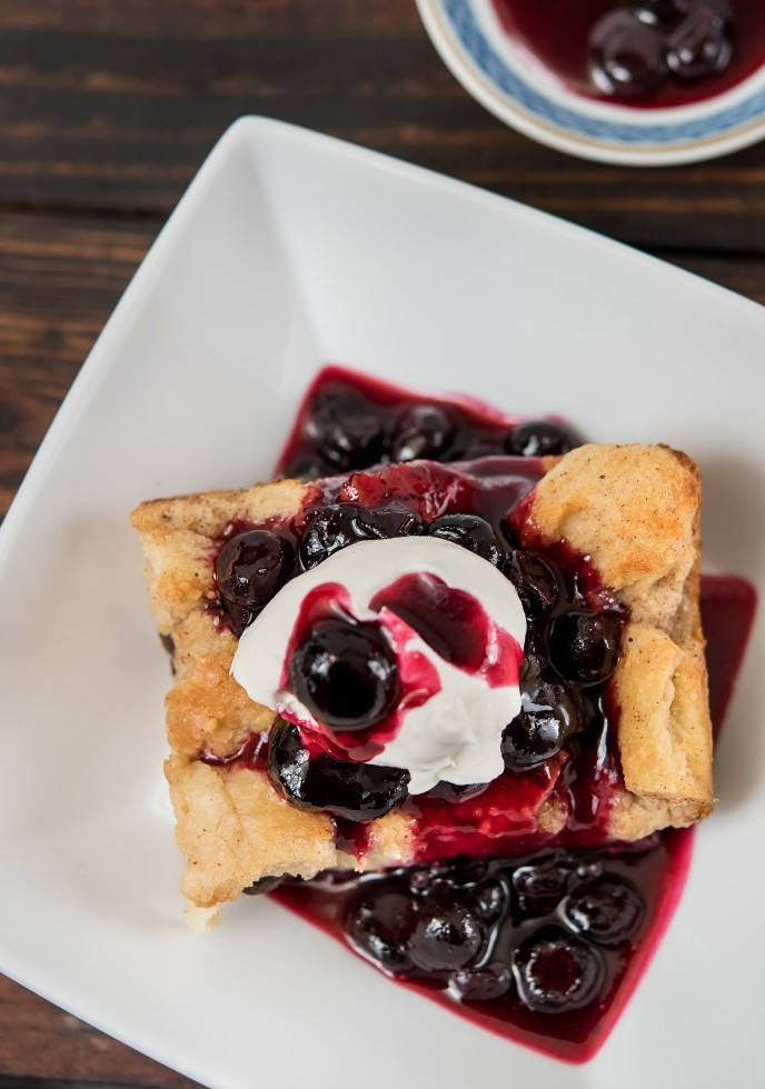 Blueberry Brioche Bread Pudding with Bourbon Sauce and Blueberry Compote