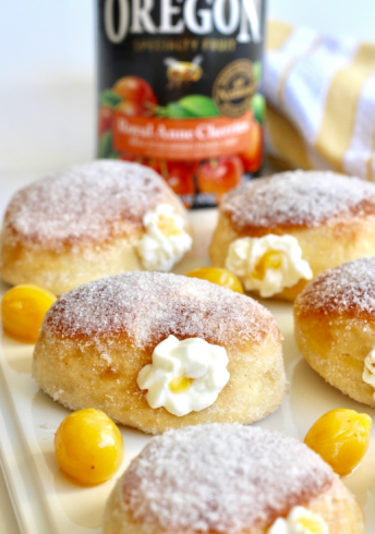 Royal Anne Cherries and Cream Filled Baked Donuts