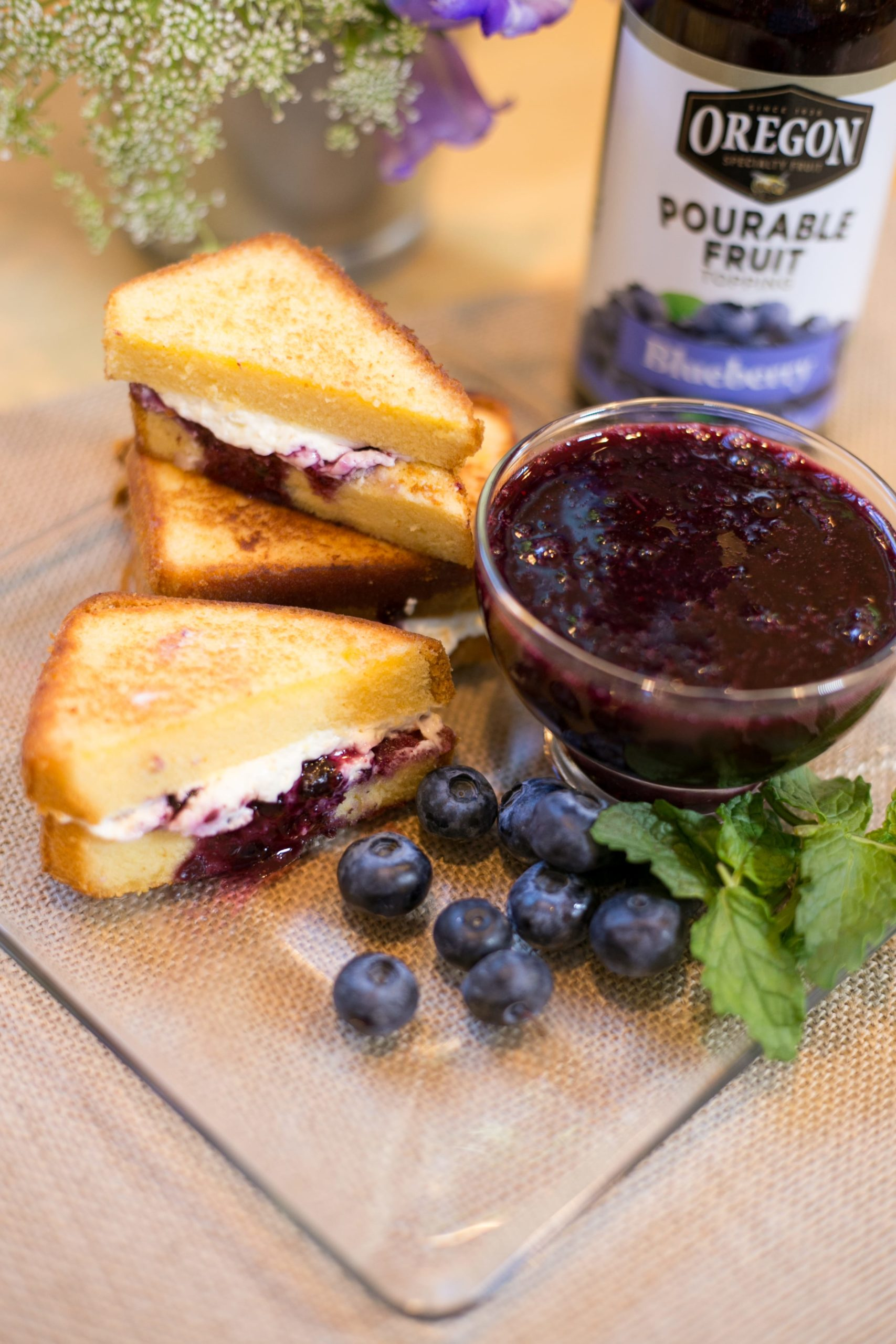 Blueberry Pourable Fruit with Grilled Pound Cake Sandwiches