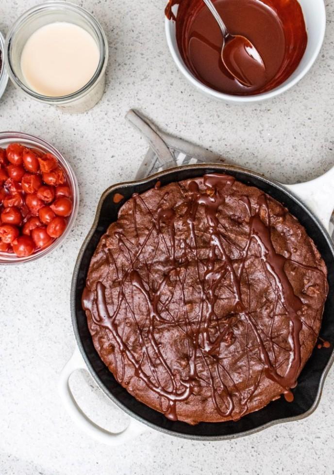 Fudge Cherry Brownie Skillet