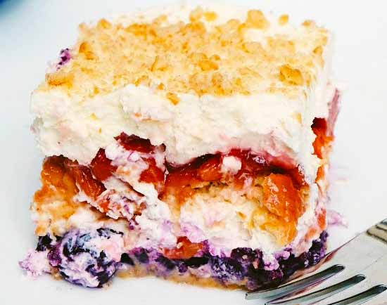 Red Tart Cherry & Blueberry Red White and Blue Icebox Cake