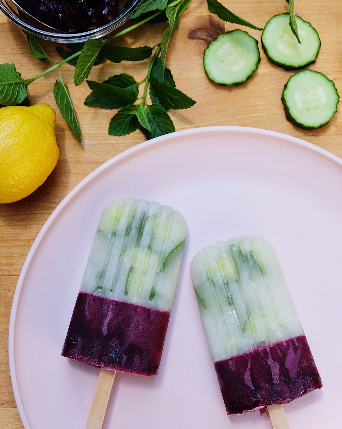 Blueberry, Cucumber & Mint Ice Pops