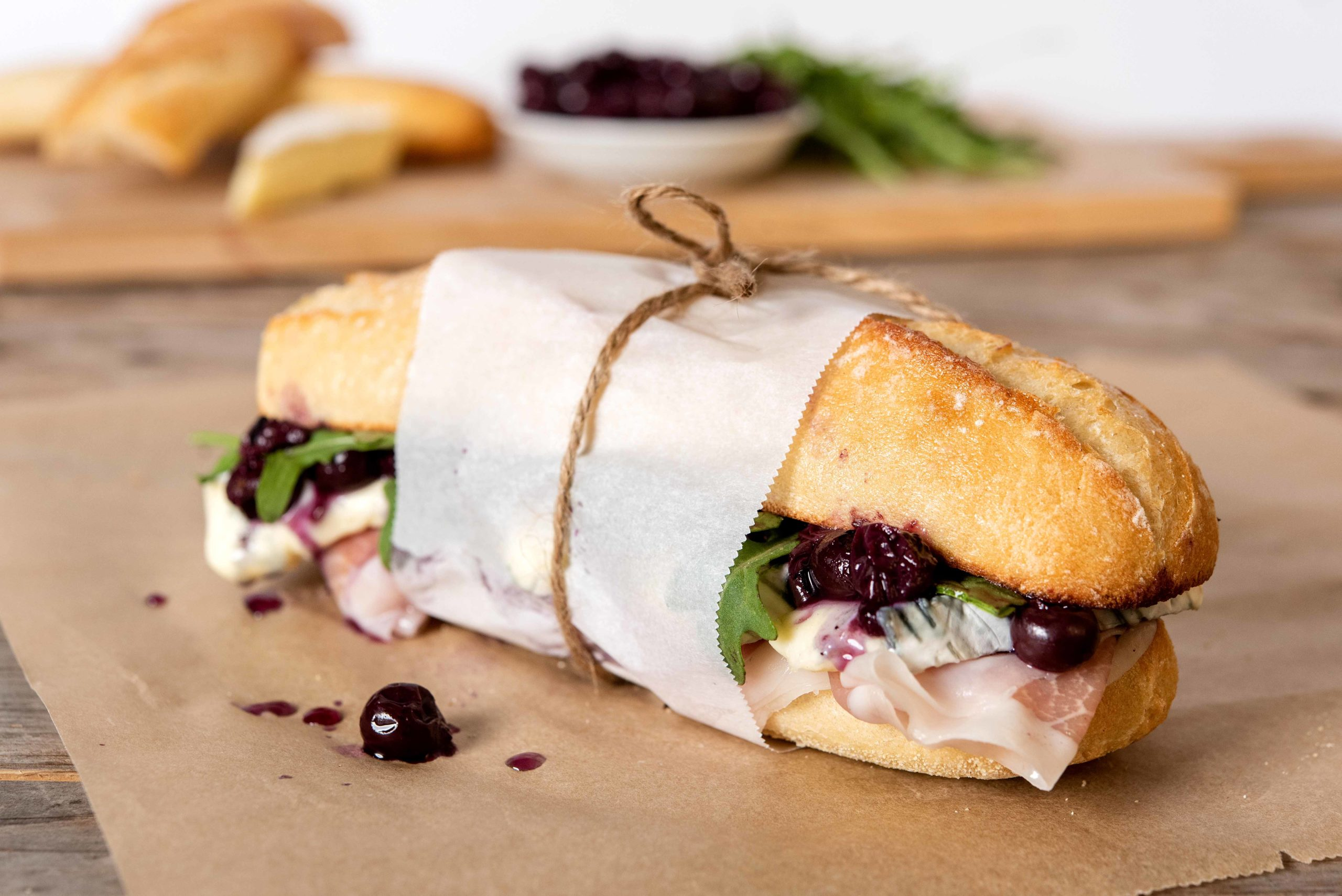 Blueberry Brie & Prosciutto Sandwich